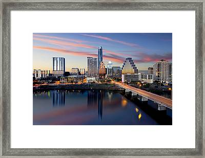 An Image Of The Austin Skyline And Lady Bird Lake From The Hyatt Hotel Framed Print by Rob Greebon