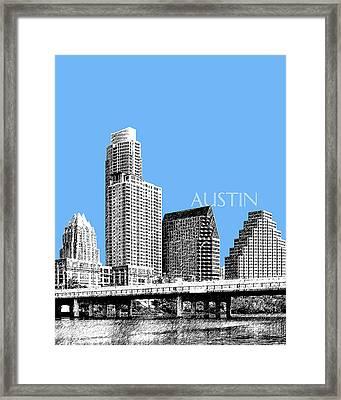 Austin Skyline - Sky Blue Framed Print by DB Artist