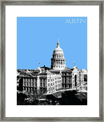 Austin Texas Capital - Sky Blue Framed Print by DB Artist