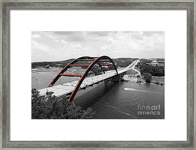 Austin Texas Pennybacker 360 Bridge Color Splash Black And White Framed Print by Shawn O'Brien