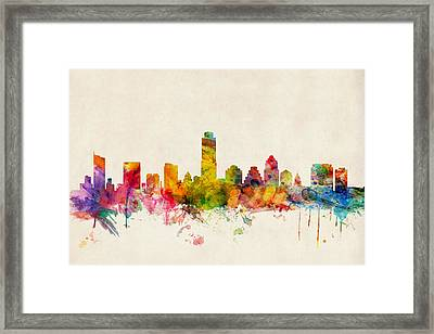 Austin Texas Skyline Framed Print by Michael Tompsett