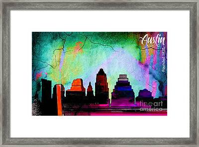 Austin Texas Skyline Watercolor Framed Print by Marvin Blaine