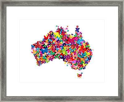 Australia Butterfly Map Framed Print by Michael Tompsett