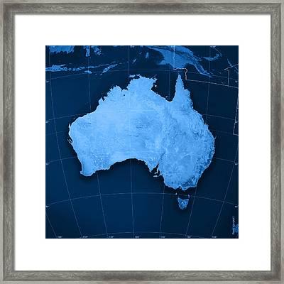 Australia Topographic Map Framed Print by Frank Ramspott
