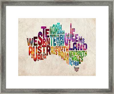 Australia Typographic Text Map Framed Print by Michael Tompsett