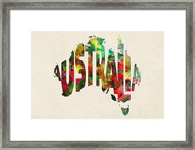 Australia Typographic Watercolor Map Framed Print by Ayse Deniz