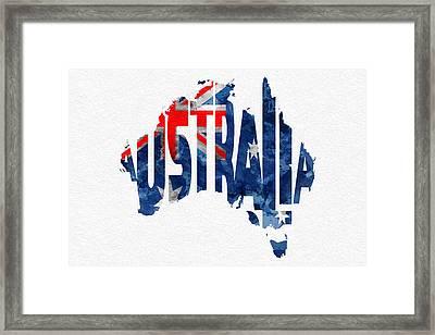 Australia Typographic World Map Framed Print by Ayse Deniz