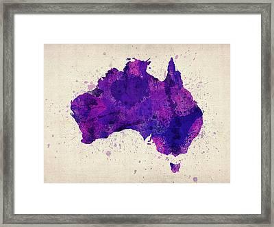 Australia Watercolor Map Art Framed Print by Michael Tompsett