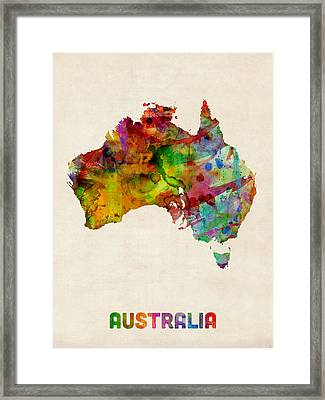 Australia Watercolor Map Framed Print by Michael Tompsett