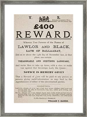 Australian Reward Poster, 1854 Framed Print by Australian School