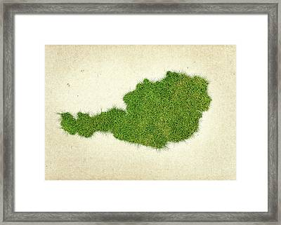 Austria Grass Map Framed Print by Aged Pixel