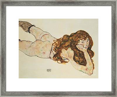 Austria Vienna Female Nude Lying On Her Stomach Framed Print by Egon Schiele