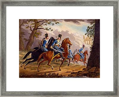 Austrian Hussars In Pursuit Framed Print by Conrad Gessner