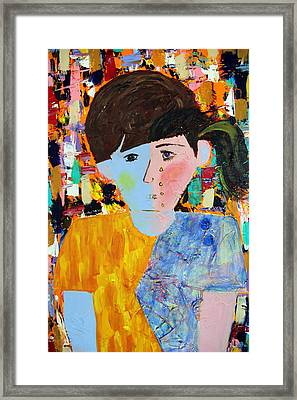 Autism - Child And Mother Framed Print by Carmencita Balagtas