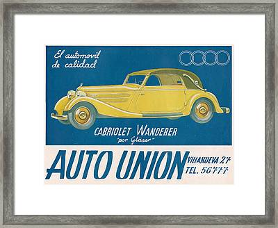 Auto Union Audi 1930s Usa Cc Cars Framed Print by The Advertising Archives