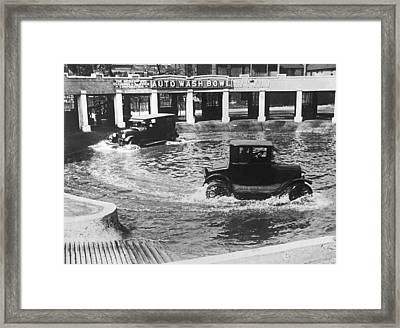Auto Wash Bowl Framed Print by Underwood Archives