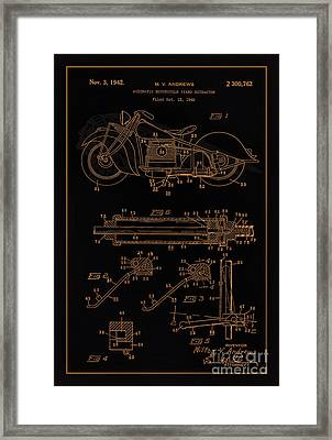 Automate Motorcycle Stand Retractor Blk Brown Framed Print by Brian Lambert