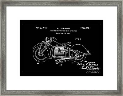 Automate Motorcycle Stand Retractor.white Framed Print by Brian Lambert
