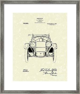 Automobile 1920 Patent Art Framed Print by Prior Art Design