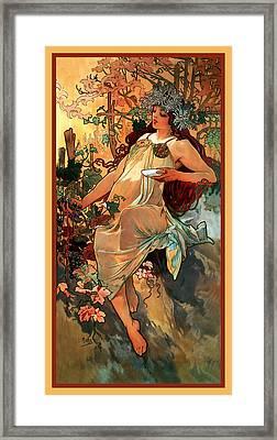 Autumn Framed Print by Alphonse Maria Mucha