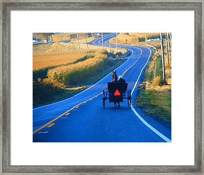 Autumn Amish Buggy Ride Framed Print by Dan Sproul