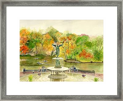 Autumn At Central Park Ny Framed Print by Melly Terpening
