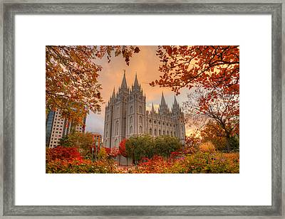 Autumn At Temple Square Framed Print by Dustin  LeFevre