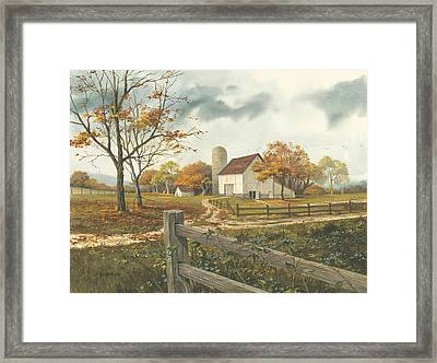 Autumn Barn Framed Print by Michael Humphries