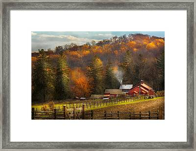 Autumn - Barn - The End Of A Season Framed Print by Mike Savad