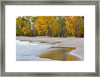 Autumn Beach Framed Print by Frozen in Time Fine Art Photography