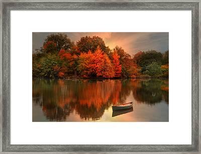 Autumn Canoe Framed Print by Robin-lee Vieira