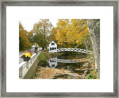 Autumn Colors At Somesville Bridge Mount Desert Island Maine Framed Print by Lena Hatch