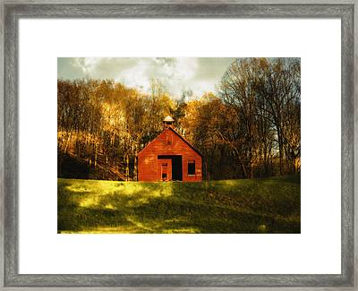 Autumn Day On School House Hill Framed Print by Denise Beverly