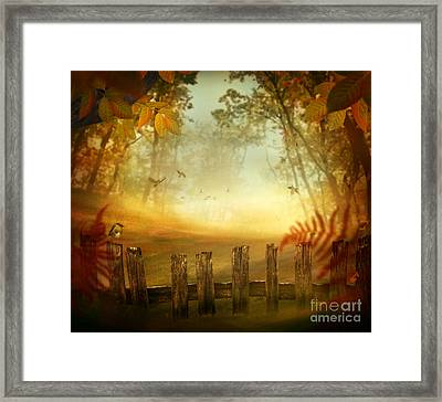 Autumn Design - Forest With Wood Fence Framed Print by Mythja  Photography