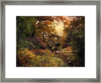 Autumn Garden Sunset Framed Print by Jessica Jenney
