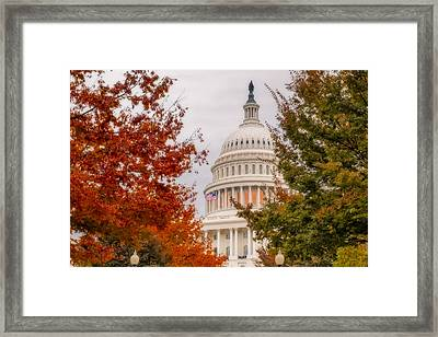 Autumn In The Us Capitol Framed Print by Susan Candelario