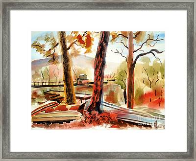 Autumn Jon Boats II Framed Print by Kip DeVore