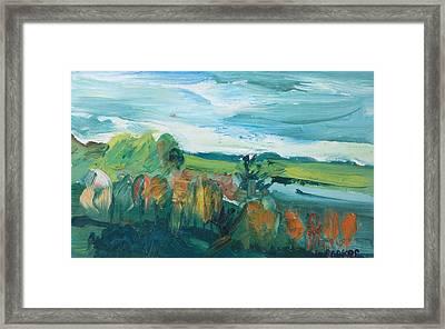 Autumn Landscape Oil On Canvas Framed Print by Brenda Brin Booker