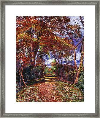 Autumn Leaf Road Framed Print by David Lloyd Glover