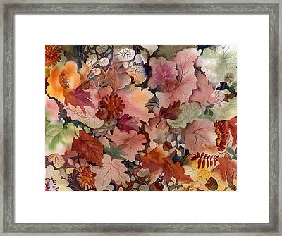 Autumn Leaves And Flowers Framed Print by Neela Pushparaj