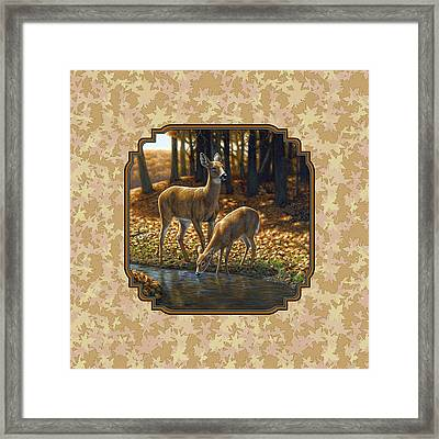 Autumn Leaves Doe And Fawn Pillow And Duvet Cover Framed Print by Crista Forest