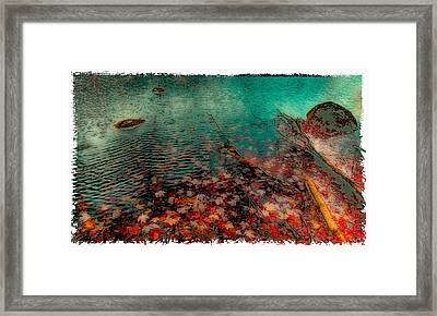 Autumn Leaves On Cary Lake - Abstract Framed Print by David Patterson