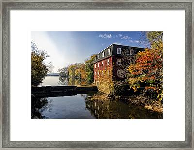 Autumn Morning At The Kingston Mill Framed Print by George Oze
