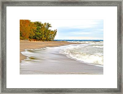 Autumn On The Beach Framed Print by Frozen in Time Fine Art Photography