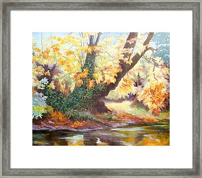 Autumn On The Darent Framed Print by Cristiana Angelini