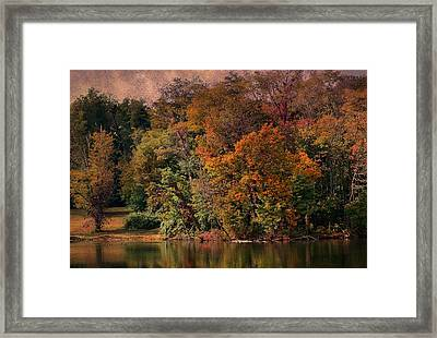 Autumn On The Lake Framed Print by Deena Stoddard