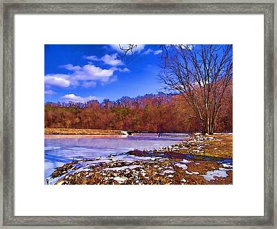 Autumn On The Niangua Framed Print by Julie Grace