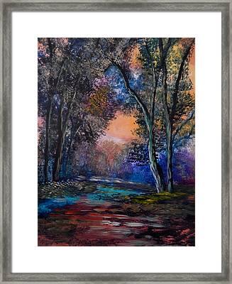 Autumn Path Framed Print by Anna Sandhu Ray