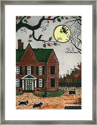 Autumn Scotties Framed Print by Margaryta Yermolayeva