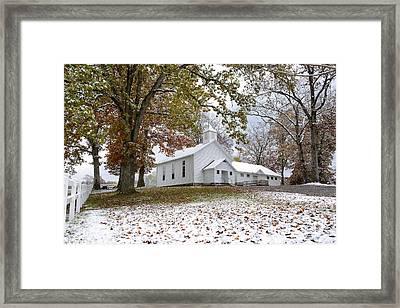 Autumn Snow And Country Church Framed Print by Thomas R Fletcher